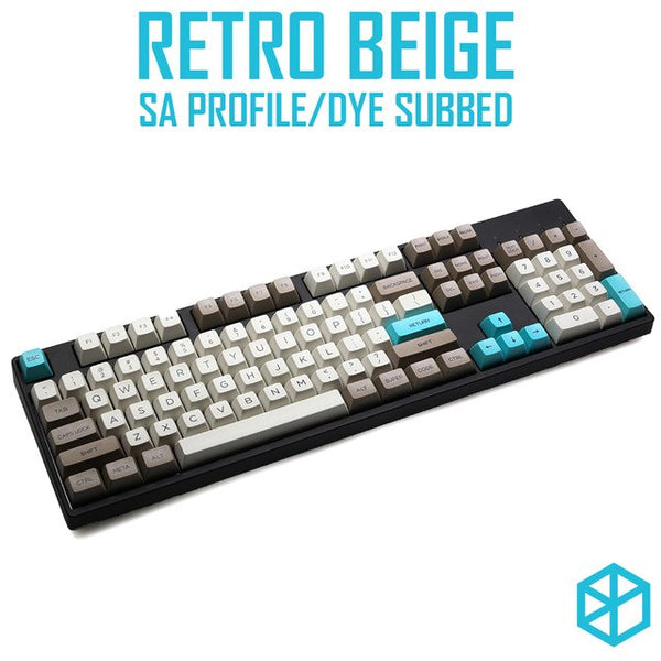 retro beige sa profile Dye Sub Keycap Set beige grey cyan color thick PBT for gh60 xd60 xd84 cospad rs96 zz96 87 104 660 xd64