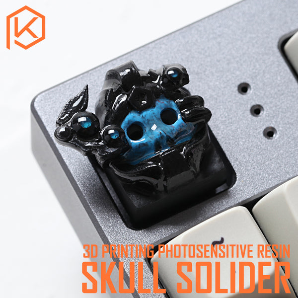 Novelty Shine Through Keycaps 3d printed print printing skull soldier custom mechanical keyboards light Cherry MX compatible Clear white DIY