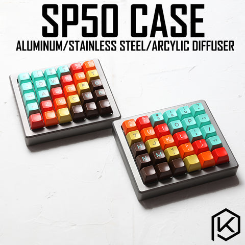 Anodized Aluminium case for sp50 50% custom keyboard acrylic panels stalinite diffuser can support Rotary brace supporter