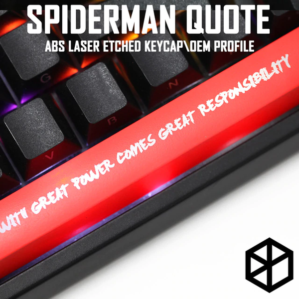 Novelty Shine Through Keycaps ABS Etched, Shine-Through red With great power comes great responsibility Spiderman quote