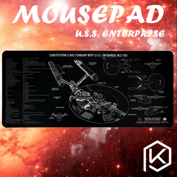 Mechanical keyboard Mousepad Star Trek u.s.s Enterprise Enterprize sixthrate 900 400 4 mm Stitched Edges Soft/Rubber Highquality