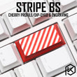 Novelty cherry profile dip dye sculpture pbt keycap for mechanical keyboard laser etched legend Stripe backspace black red blue