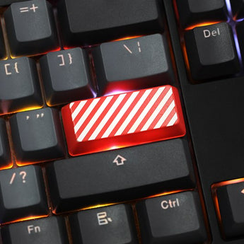 Novelty Shine Through Keycaps ABS Etched, Shine-Through stripe black red for custom mechanical keyboard enter backspace 2.25u 2u