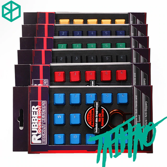 taihao Rubber Gaming Keycap Set Rubberized Doubleshot Keycaps Cherry MX Compatible OEM Profile shine-through Set of 18 keycaps