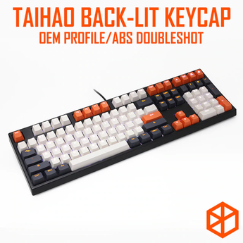 taihao abs double shot keycaps for diy gaming mechanical keyboard Backlit Caps oem profile light through carbon colorway 108 key