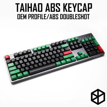 taihao abs double shot keycaps for diy gaming mechanical keyboard color of green black red for 104 ansi 87 tkl poker gh60