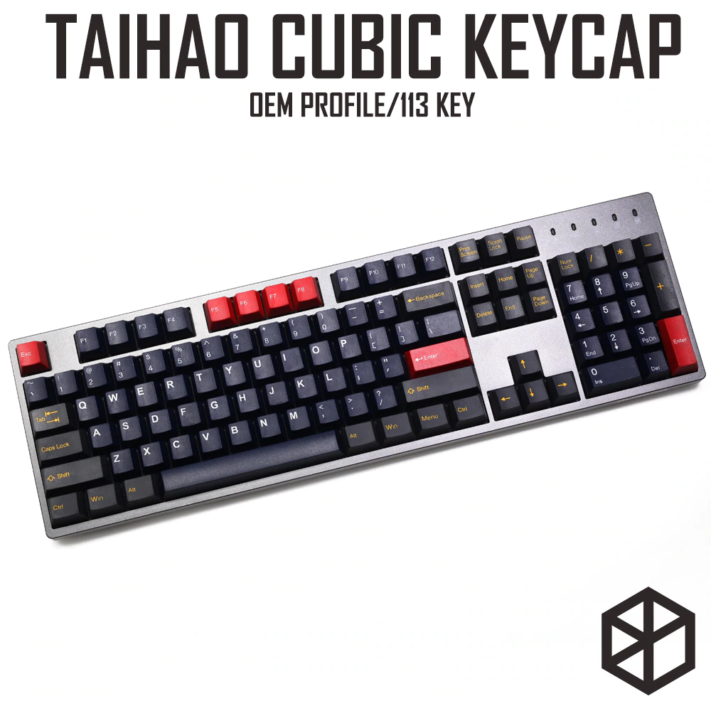 Taihao Cubic Abs Doubleshot Cubic Keycaps For Diy Gaming Mechanical Keyboard Red Blue Grey With 1 75 Shift For 104 Ansi