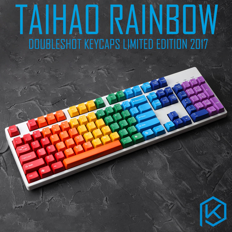 Taihao Rainbow Abs Double Shot Keycaps For Diy Gaming Mechanical Keyboard Limited Edition 2018 50 Sets With Unique Number