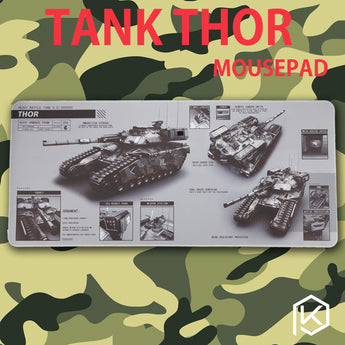 Mechaincal tank thor Mousepad 900 400 4 mm Stitched Edges Soft/Rubber High quality