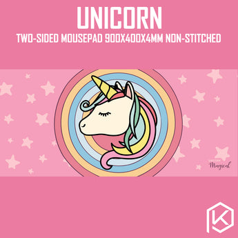 [GB] unicorn two-side mouse pad 900*400 full size non-stitched edge pink-grey