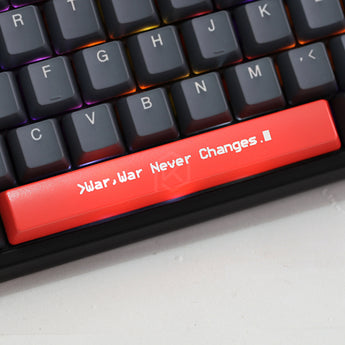 Novelty Shine Through Keycaps ABS Etched, Shine-Through fallout war never changes black red custom mechanical keyboard spacebar