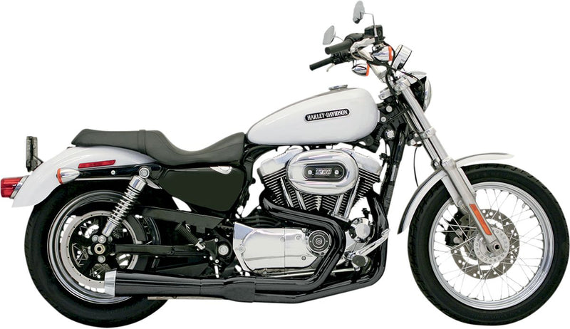 Black Short Road Rage 2 into 1 System for Sportster '86-2003 - 14222J