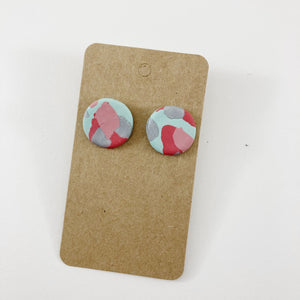 Pink + Blue Clay Circle Stud Earrings