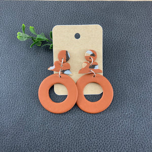 Handmade Clay Geometric Dangle Earrings