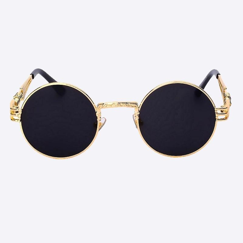 2 Chainz Vintage Sunglasses - Steampunk Round Shades Sunglasses Black Golden