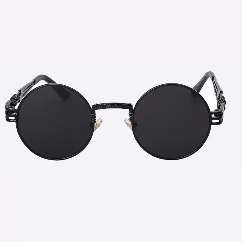 2 Chainz Vintage Sunglasses - Steampunk Round Shades Sunglasses Loom Rack Black