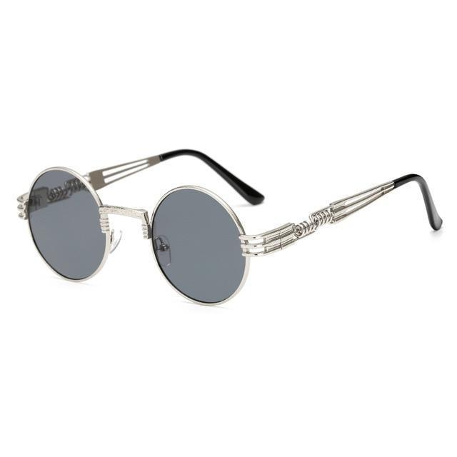2 Chainz Vintage Sunglasses - Steampunk Round Shades Sunglasses Loom Rack Black Silver