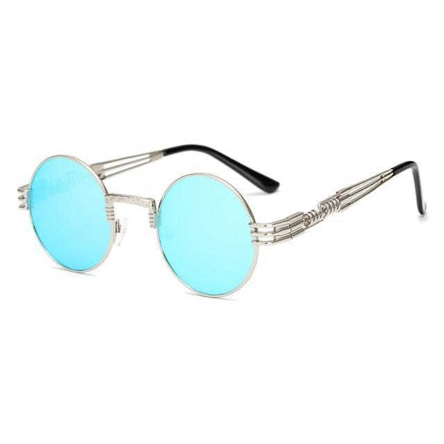 2 Chainz Vintage Sunglasses - Steampunk Round Shades Sunglasses Loom Rack Blue Silver