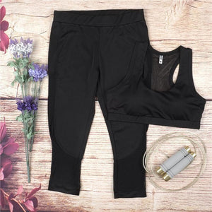 2-Piece Mesh Yoga Capri Set Yoga Sets Loom Rack