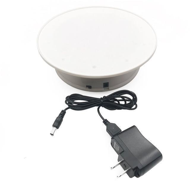 360 Degree Electric Rotating Turntable Photography Loom Rack White with US plug
