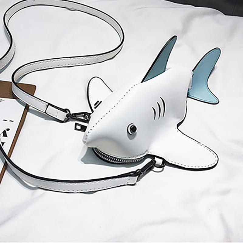 3D Shark Crossbody Bag Cross Body Bags Loom Rack White