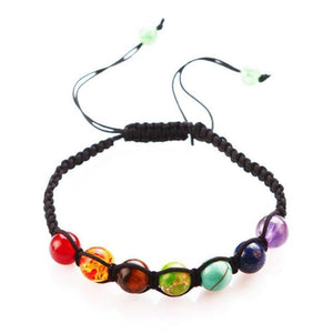 7 Chakras Healing Bracelet with Natural Lava Beads Bracelets Loom Rack Rope