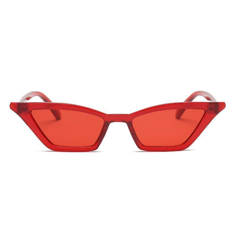 90s Retro Cat Eye Sunglasses Sunglasses Loom Rack clear red