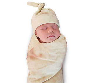 Burrito Blanket Soft Fleece and Baby Wrap with Matching Hat