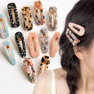 Acrylic Colorful Hair Clip Barrettes Hair Accessories Pink Blue A