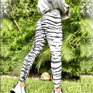 Animal Print Yoga Leggings Leggings Loom Rack S White