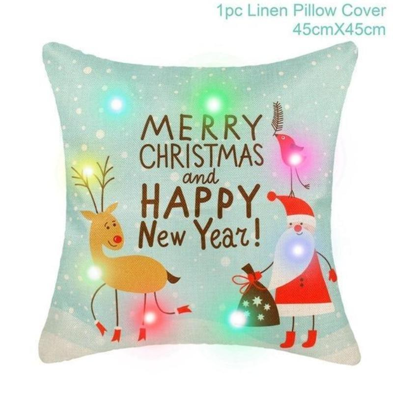 Assorted Christmas Cushion Covers - LED, Animal Print & Traditional Christmas Accessories Loom Rack LED Deer