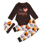 Baby Boy Girl First Thanksgiving Outfit - My First Thanksgiving 3-Piece Set Baby Clothes Loom Rack Brown 3M