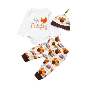 Baby Boy Girl First Thanksgiving Outfit - My First Thanksgiving 3-Piece Set Baby Clothes Loom Rack White 3M