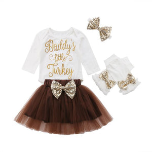 Baby Girl Thanksgiving Tutu Dress Leg Warmers - Daddy's Little Turkey 4-Piece Set Baby Clothes Loom Rack