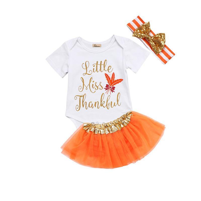 Baby Girl Thanksgiving Tutu Onesie - Little Miss Thankful 3-Piece Set Baby Clothes Loom Rack