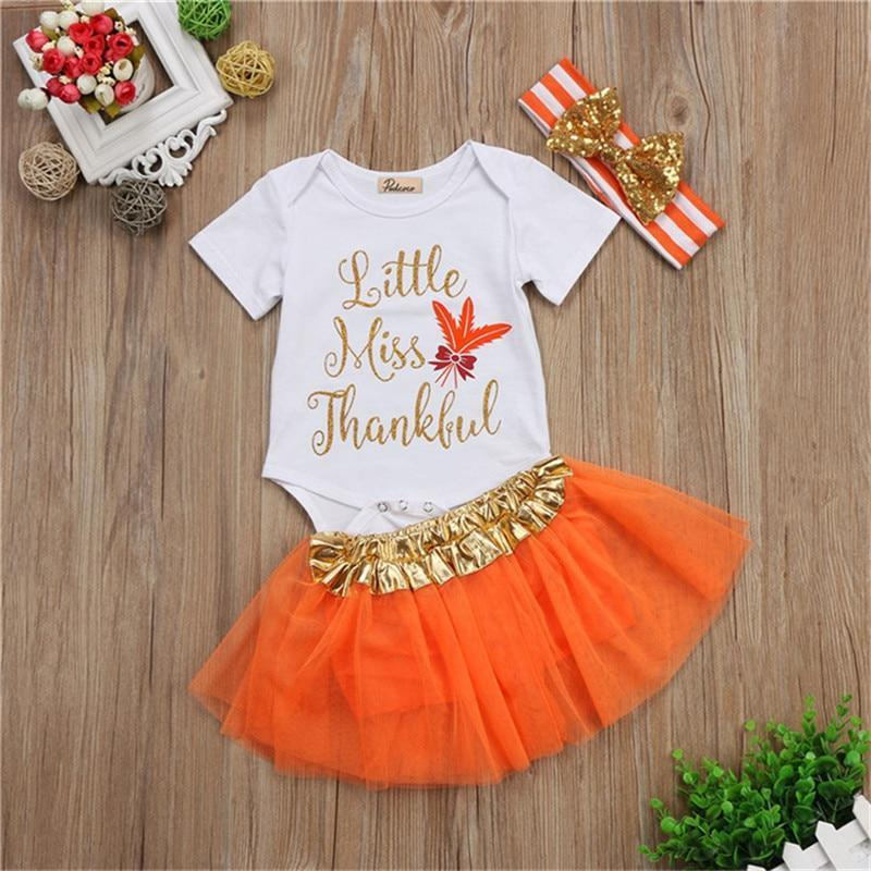 Baby Girl Thanksgiving Tutu Onesie - Little Miss Thankful 3-Piece Set Baby Clothes Loom Rack White 0-3M