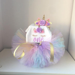 Baby Girl Tutu Unicorn 1st Birthday Outfit (1/2 Birthday, 1st Birthday, 2nd Birthday) Clothing Sets Loom Rack 02 Unicorn Set 12M