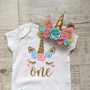 Baby Girl Tutu Unicorn 1st Birthday Outfit (1/2 Birthday, 1st Birthday, 2nd Birthday) Clothing Sets Loom Rack