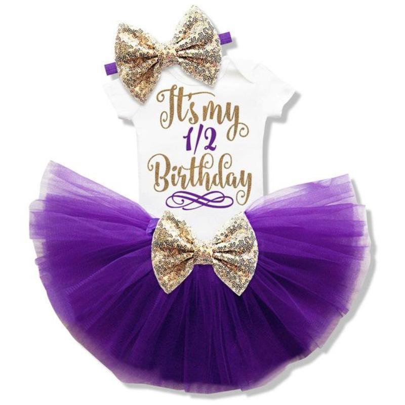 Baby Girl Tutu Unicorn 1st Birthday Outfit (1/2 Birthday, 1st Birthday, 2nd Birthday) Clothing Sets Loom Rack Purple 6m