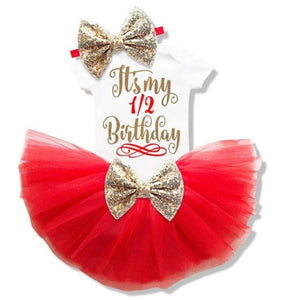 Baby Girl Tutu Unicorn 1st Birthday Outfit (1/2 Birthday, 1st Birthday, 2nd Birthday) Clothing Sets Loom Rack Red 6m