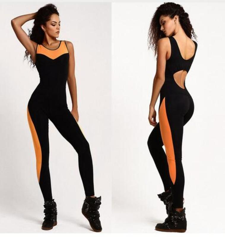 Backless Yoga Jumpsuit Yoga Sets Loom Rack Orange Striped Leg S