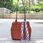 Bamboo Knitted Shoulder Bag Rattan Bags Loom Rack Wine Red