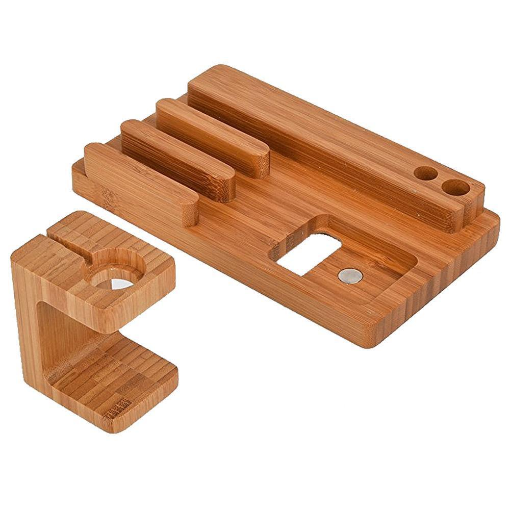 Bamboo Tech Docking Stand Organizer & Charger Mobile Phone Holders Loom Rack