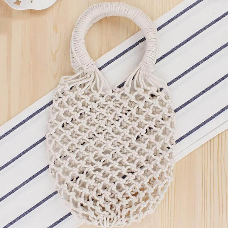 Basket Net Rattan Bag Rattan Bags Loom Rack Beige -Small with Lining