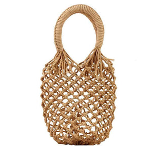 Basket Net Rattan Bag Rattan Bags Loom Rack Brown -Small with Lining