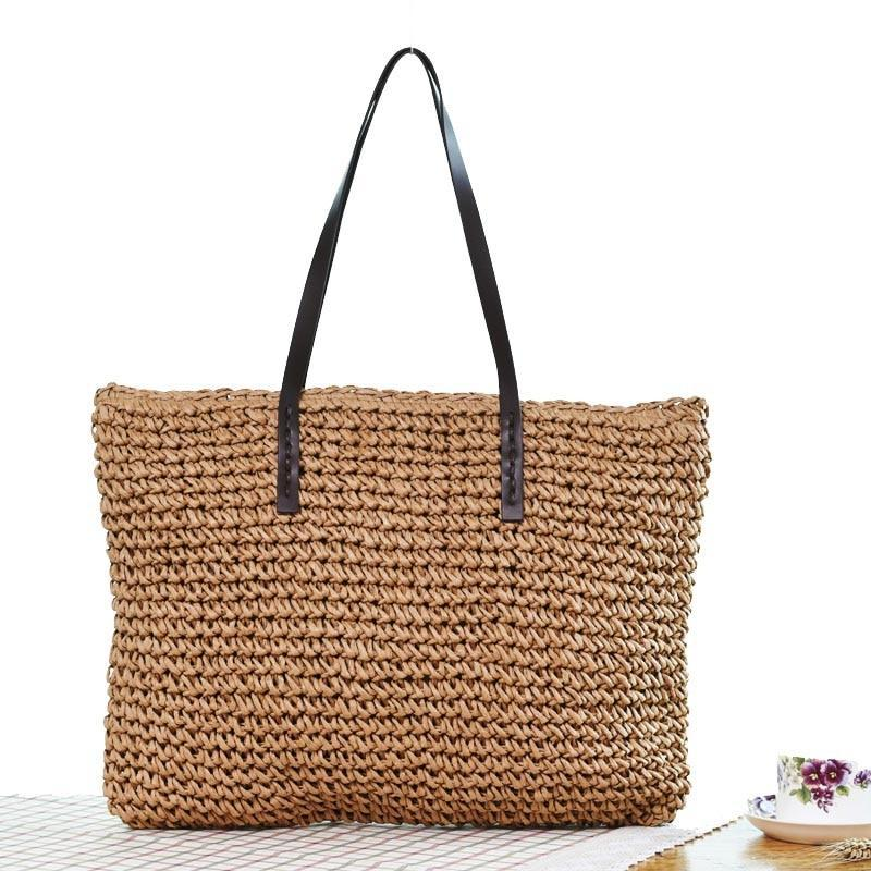 Beach Bohemian Rattan Tote Handbags light coffee / (20cm<Max Length<30cm)