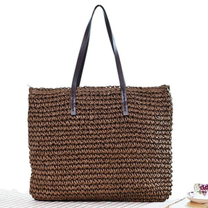 Beach Bohemian Rattan Tote Rattan Bags Loom Rack Dark Coffee