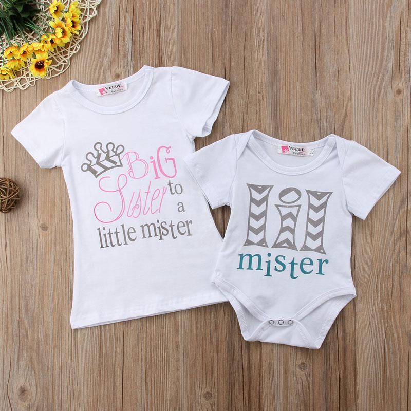 Big Sister Little Brother Matching Outfit - Big Sister to a Little Mister Matching Outfits Loom Rack White Little Mister 9M