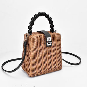 Black Pearl Handle Rattan Bag Rattan Bags