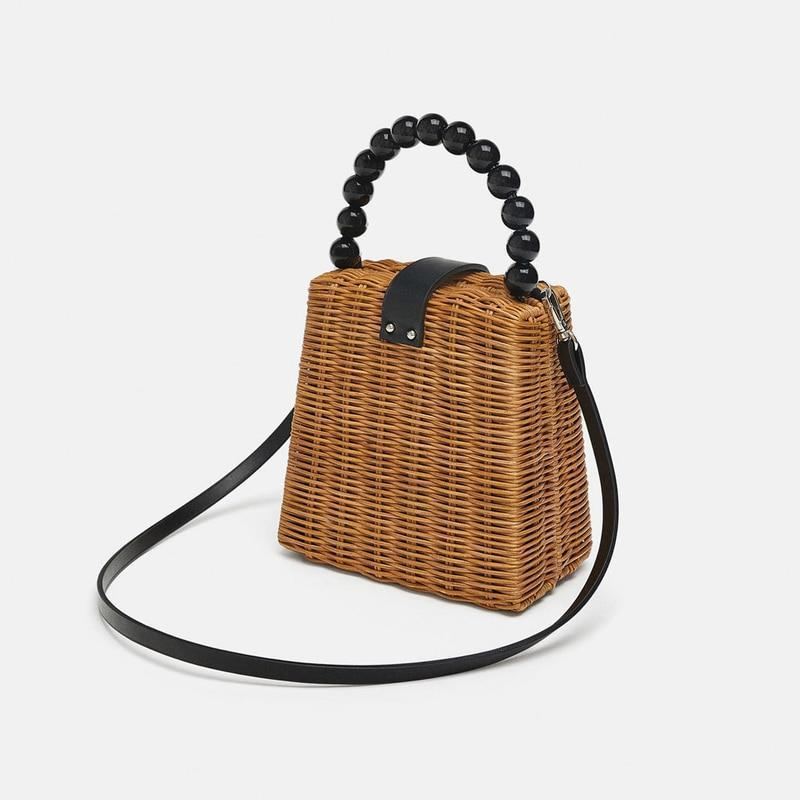 Black Pearl Handle Rattan Bag Rattan Bags Loom Rack